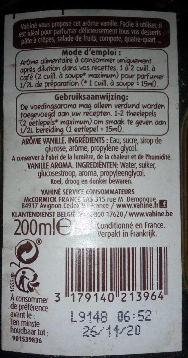 Arôme vanille - Informations nutritionnelles - fr