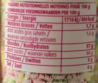 Vermicelles prout de licorne - Informations nutritionnelles - fr