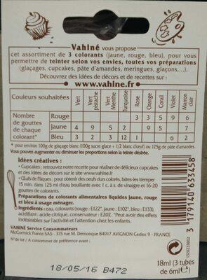 Colorants alimentaires - Ingrediënten - fr