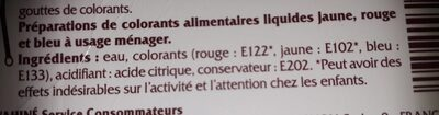 Colorants alimentaires - Nutrition facts - fr