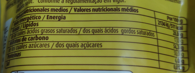 Pepitas de chocolate negro - Informació nutricional - es