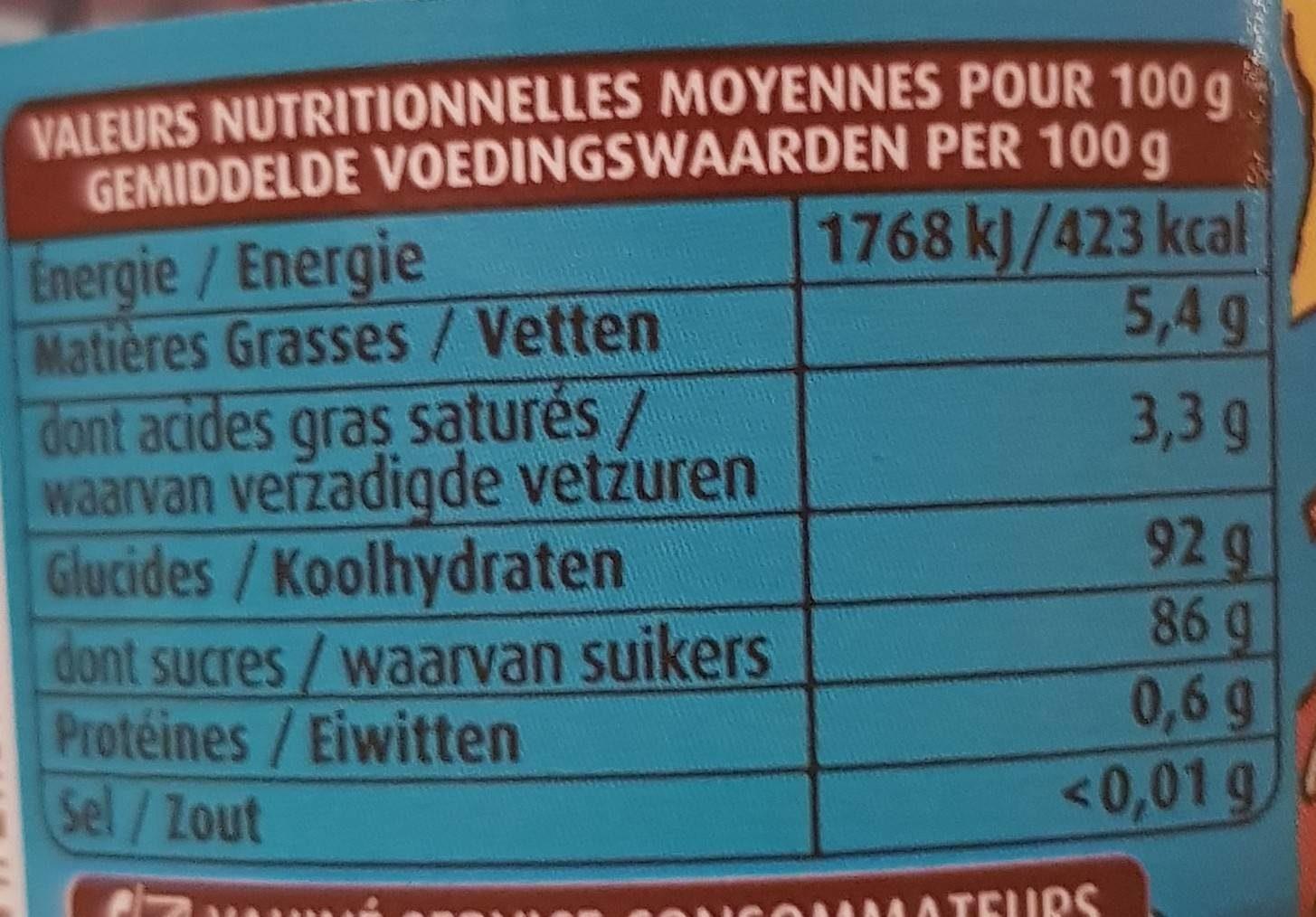 Vahiné Multideco adventure pot plastique Le sachet de 92gr - Informations nutritionnelles