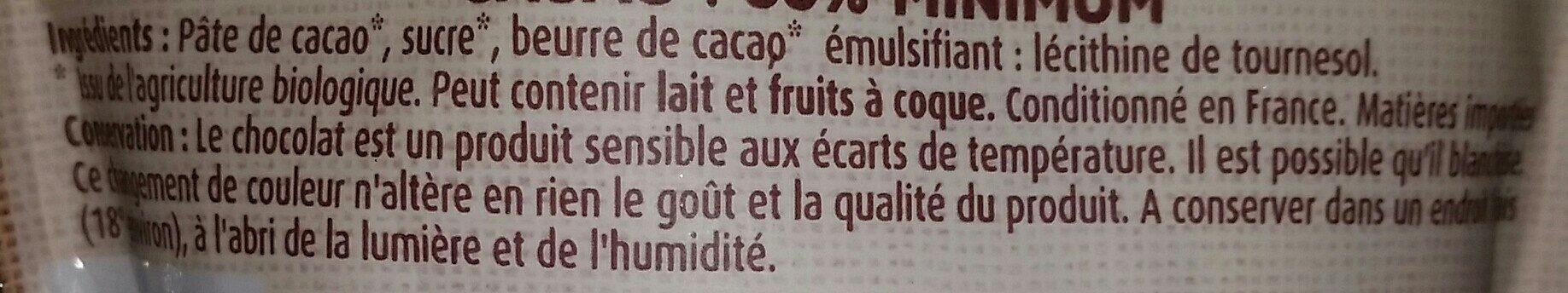 Pépites chocolat noir Bio - Ingrédients - fr
