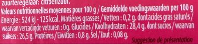 Nappage Framboise - Nutrition facts - fr