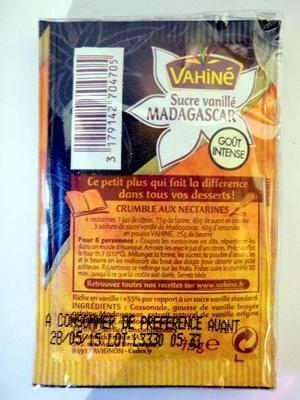 Sucre vanillé Madagascar à la vanille Bourbon (5 sachets) - Vahiné - Informations nutritionnelles - fr