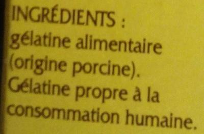 Gélatine alimentaire en poudre - Ingredients