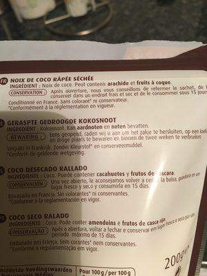 Noix de coco râpée - Ingredients