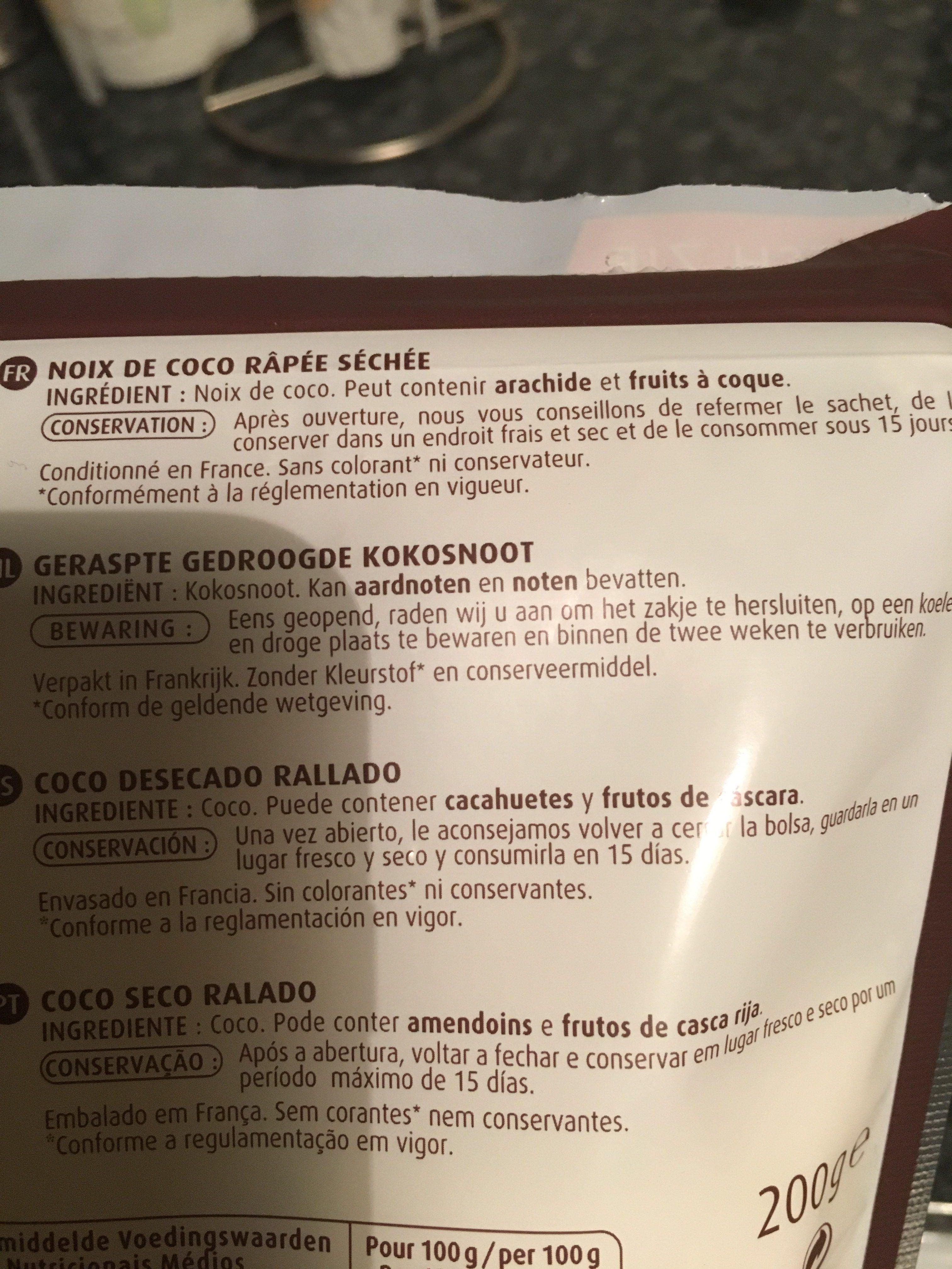 Noix de coco râpée - Ingrédients - fr