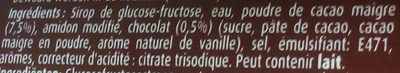 Nappage Chocolat - Ingrédients