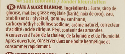 Pâte à sucre Blanc - Ingrédients - fr