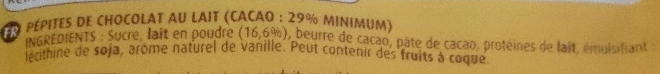 Pépites de chocolat au lait + 25% gratuit - Ingrediënten - fr