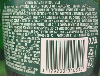 Perrier - Informations nutritionnelles - fr