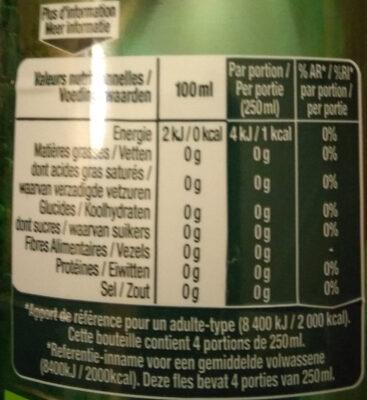 Perrier citron vert - Informations nutritionnelles