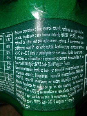 Perrier citron vert - Ingrédients