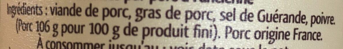 Rillettes pur porc - Ingrédients - fr