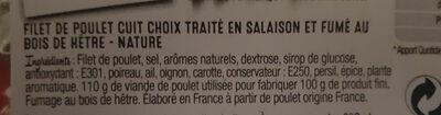 Filet de poulet fumé Nature - Ingrédients - fr