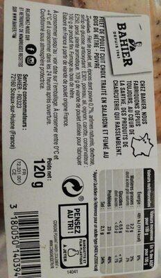 Filet de poulet fumé au poivre - Informations nutritionnelles - fr