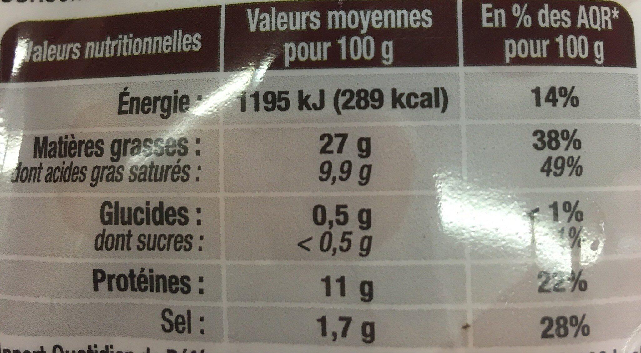 Bahier saucisse cocktail - Voedingswaarden - fr