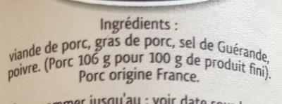 Rillettes du Mans porc fermier label rouge BAHIER - Ingrédients - fr