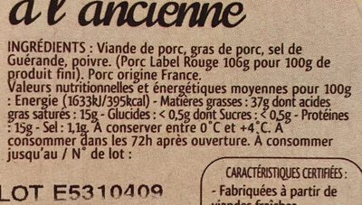 Rillettes pur porc a l'ancienne - Ingrédients - fr