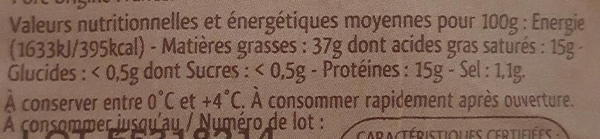 Rillettes pur porc a l'ancienne - Informations nutritionnelles - fr