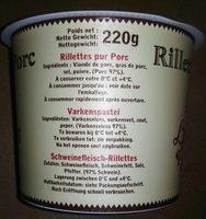 220G Rillettes Pur Porc - Ingrédients - fr