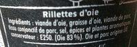 Rillette d'oie - Ingrédients - fr