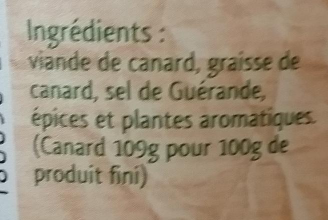 Rillettes Traditionnelles 100% canard - 220 g - Régis Bahier - Ingrédients - fr