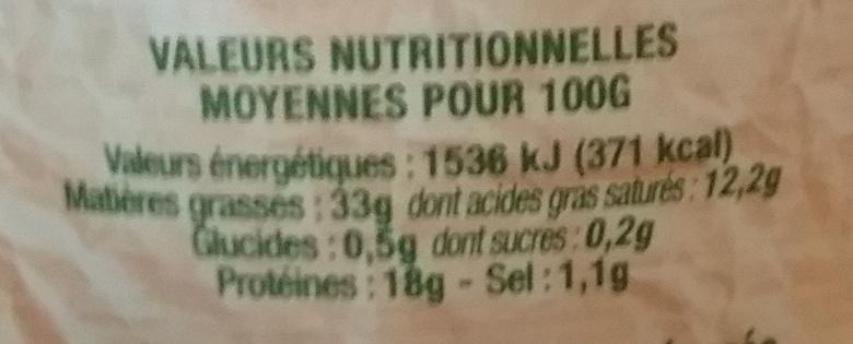 Rillettes Traditionnelles 100% canard - 220 g - Régis Bahier - Informations nutritionnelles - fr