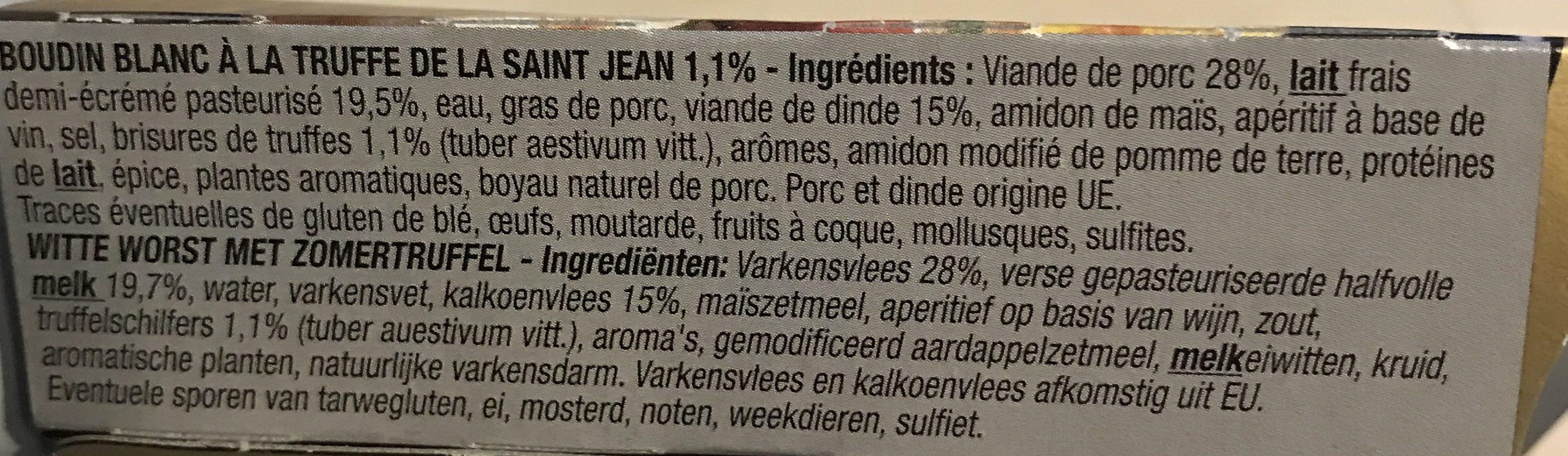 Boudin blanc aux truffes noires et brumales BAHIER, 3 pièces - Ingrédients - fr