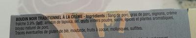 Bahier boudin noir a la creme - Ingrédients - fr