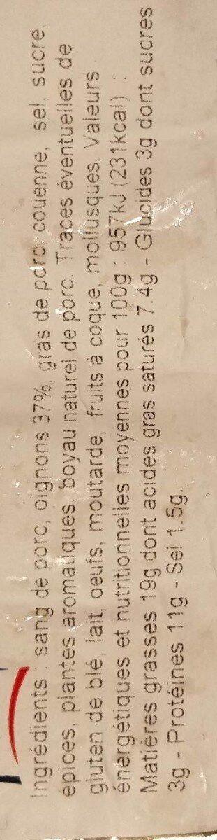 Boudin noir aux oignons recette à l'ancienne - Informations nutritionnelles - fr