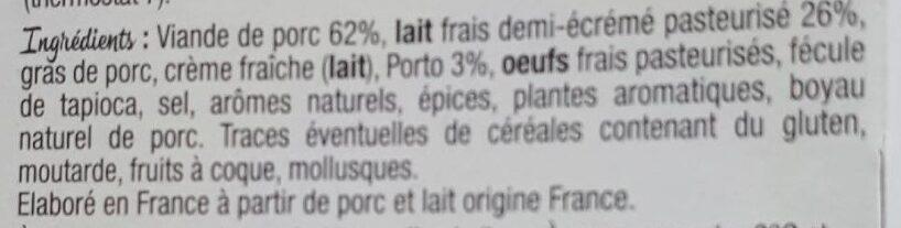 Boudin au lait frais - Ingrédients - fr