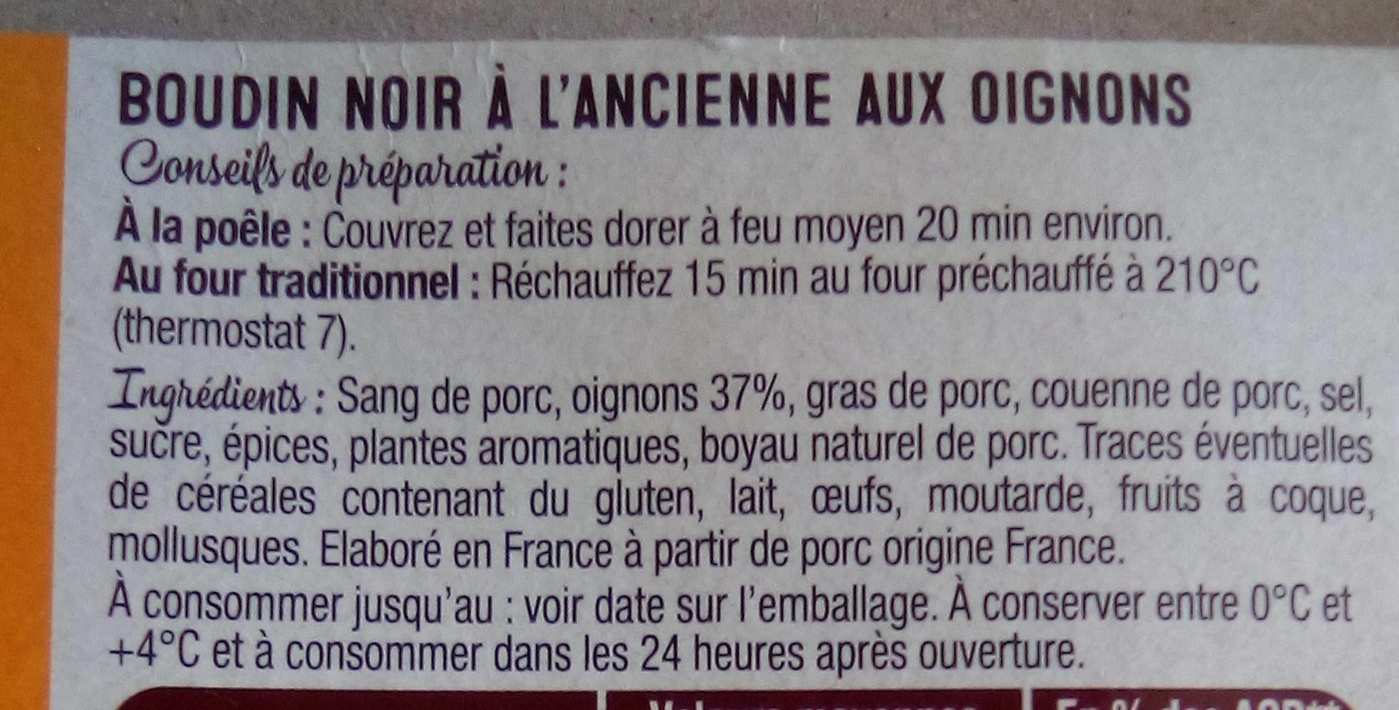 Boudin à la ancienne aux oignons frais - Ingrédients - fr