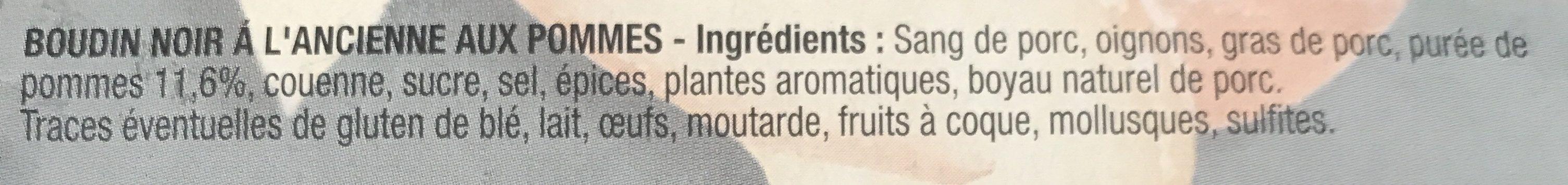 Bahier 3 Boudins Noirs Pommes 375G - Ingrédients - fr