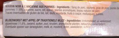 Boudin noir pommes Bahier - Ingrédients - fr