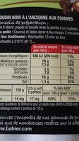 Boudin noir pommes Bahier - Informations nutritionnelles - fr