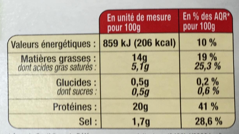 Langue de Porc en Gelée (3 Tranches) - Nutrition facts