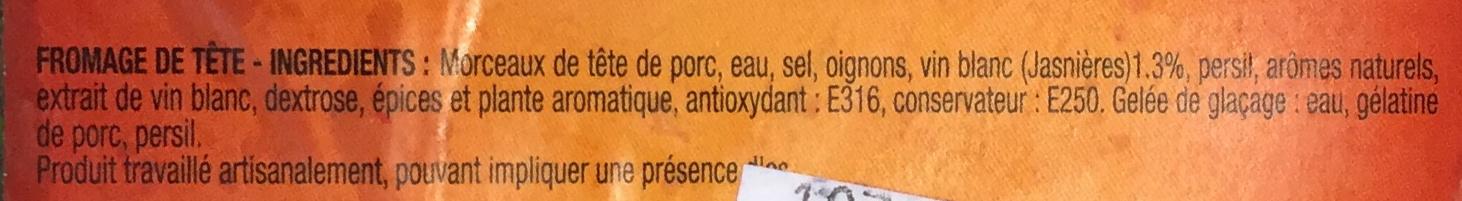 Fromage de tête Recette à l'ancienne - Ingrediënten - fr