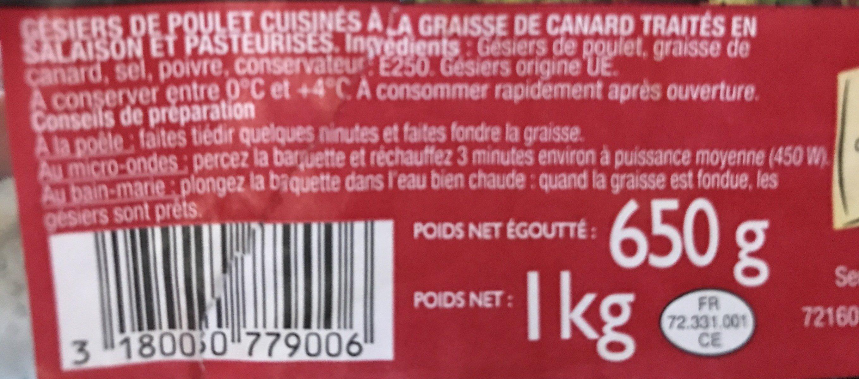 Gesiers de poulet - Ingrédients - fr