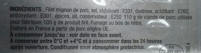 FILET MIGNON NATURE 100GR BAHIER - Ingrédients - fr