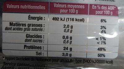 FILET MIGNON NATURE 100GR BAHIER - Informations nutritionnelles - fr