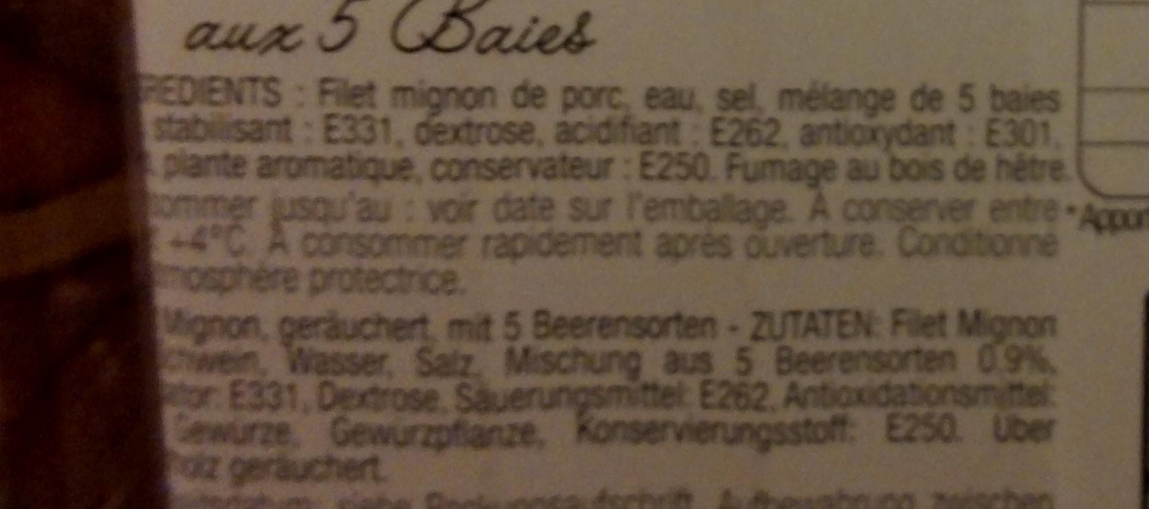 Filet mignon fumé aux 5 baies - Ingrédients - fr