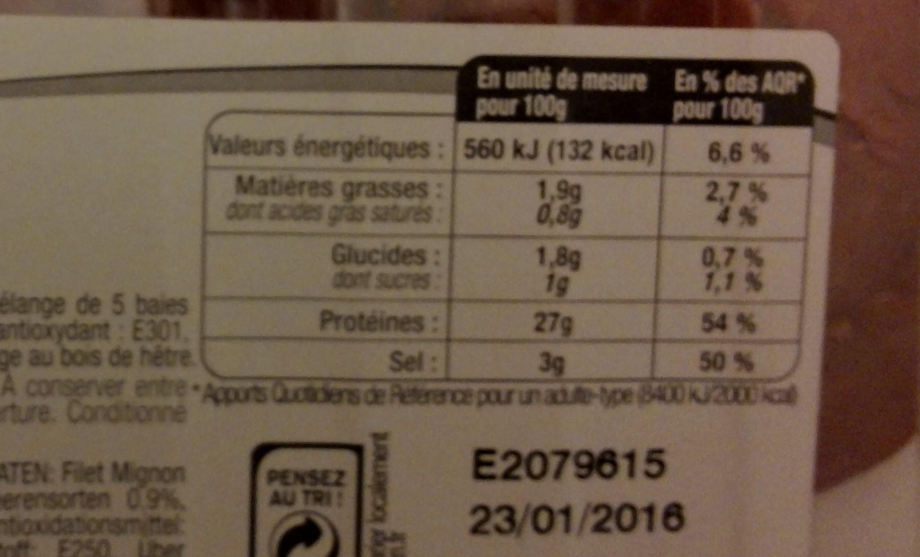 Filet mignon fumé aux 5 baies - Informations nutritionnelles - fr