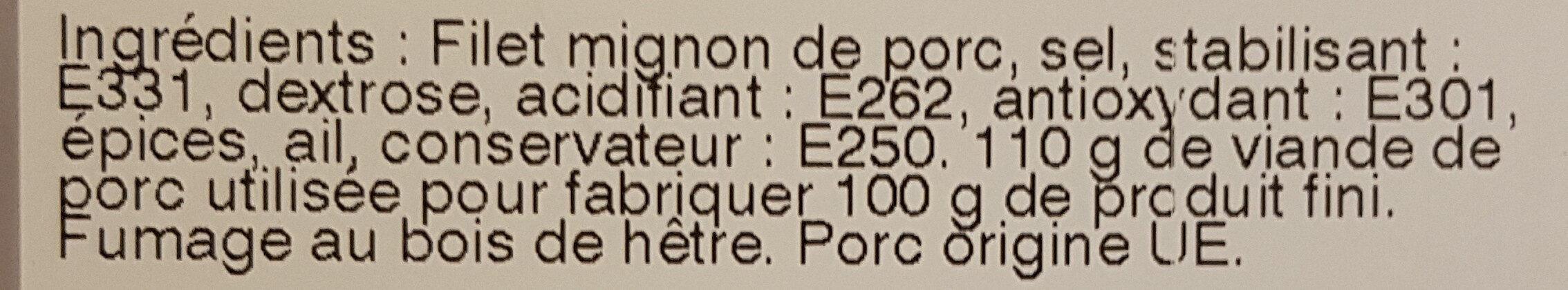 Filet mignon fumé nature - Ingrédients - fr