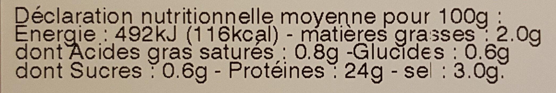 Filet mignon fumé nature - Nutrition facts - fr