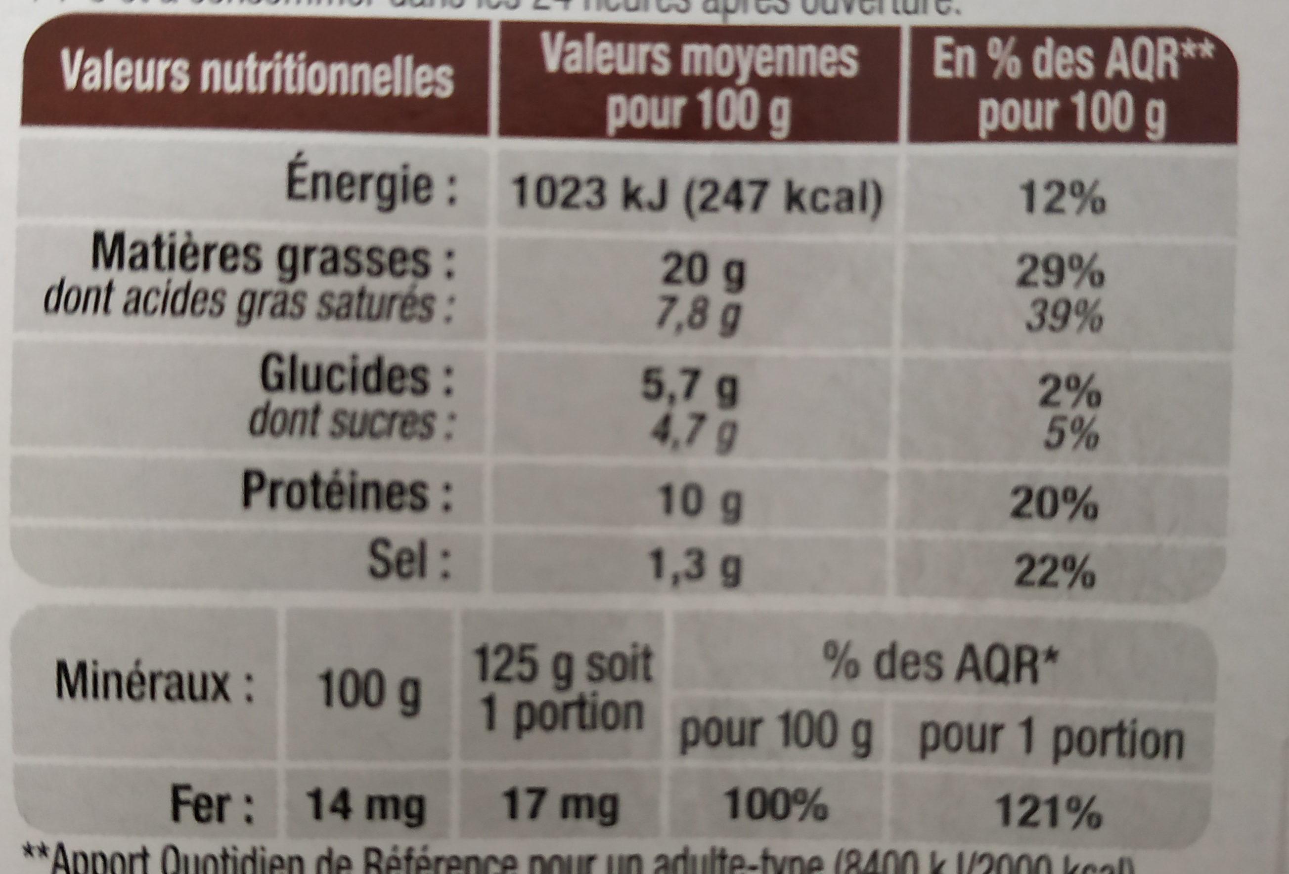 Boudin à l'ancienne aux pommes du verger - Informations nutritionnelles - fr