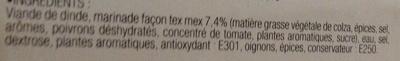 Médaillons de dinde marinés Tex-Mex Précuits - Ingrédients