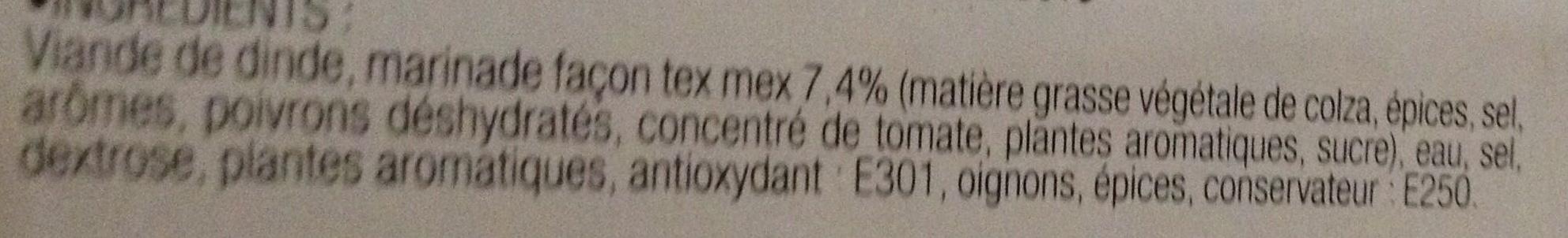 Médaillons de dinde marinés Tex-Mex Précuits - Ingrédients - fr