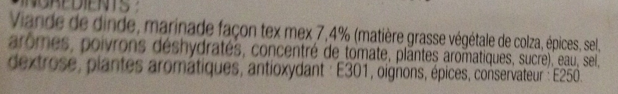 Médaillons de dinde marinés Tex-Mex Précuits - Ingrediënten - fr